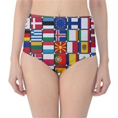 Europe Flag Star Button Blue High Waist Bikini Bottoms