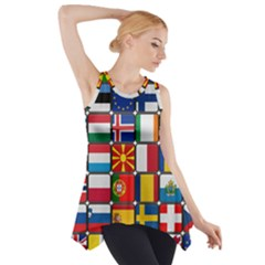 Europe Flag Star Button Blue Side Drop Tank Tunic