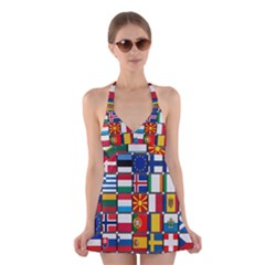 Europe Flag Star Button Blue Halter Swimsuit Dress