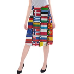 Europe Flag Star Button Blue Midi Beach Skirt