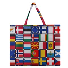 Europe Flag Star Button Blue Zipper Large Tote Bag