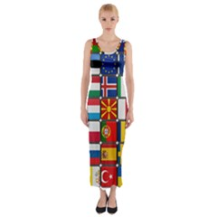 Europe Flag Star Button Blue Fitted Maxi Dress