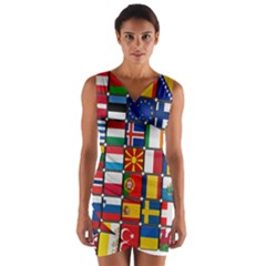 Europe Flag Star Button Blue Wrap Front Bodycon Dress