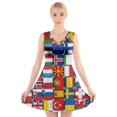 Europe Flag Star Button Blue V-Neck Sleeveless Skater Dress