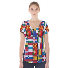 Europe Flag Star Button Blue Short Sleeve Front Detail Top