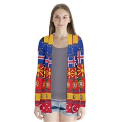Europe Flag Star Button Blue Cardigans