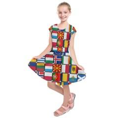 Europe Flag Star Button Blue Kids  Short Sleeve Dress
