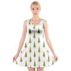 Christmas Tree V Neck Sleeveless Skater Dress