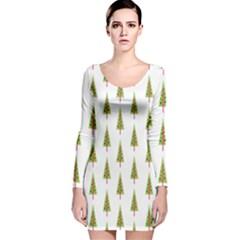 Christmas Tree Long Sleeve Velvet Bodycon Dress