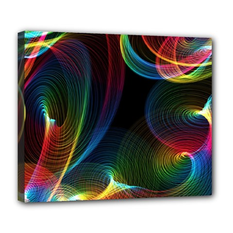 Abstract Rainbow Twirls Deluxe Canvas 24  x 20