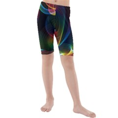 Abstract Rainbow Twirls Kids  Mid Length Swim Shorts