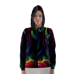 Abstract Rainbow Twirls Hooded Wind Breaker (Women)