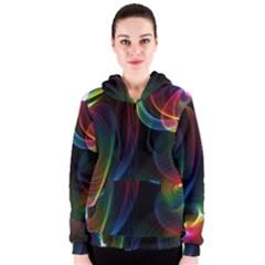 Abstract Rainbow Twirls Women s Zipper Hoodie