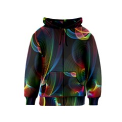 Abstract Rainbow Twirls Kids  Zipper Hoodie