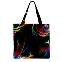 Abstract Rainbow Twirls Zipper Grocery Tote Bag