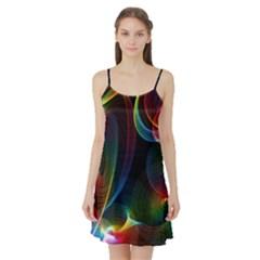 Abstract Rainbow Twirls Satin Night Slip