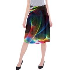 Abstract Rainbow Twirls Midi Beach Skirt