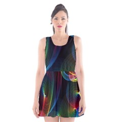 Abstract Rainbow Twirls Scoop Neck Skater Dress