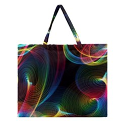 Abstract Rainbow Twirls Zipper Large Tote Bag