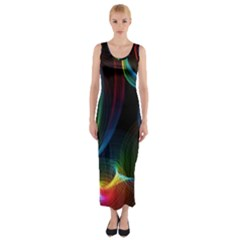 Abstract Rainbow Twirls Fitted Maxi Dress