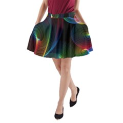 Abstract Rainbow Twirls A-Line Pocket Skirt