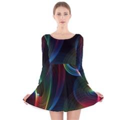 Abstract Rainbow Twirls Long Sleeve Velvet Skater Dress