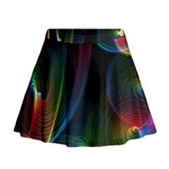 Abstract Rainbow Twirls Mini Flare Skirt