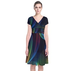 Abstract Rainbow Twirls Short Sleeve Front Wrap Dress