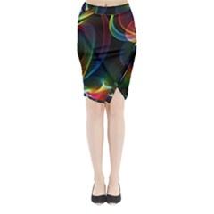 Abstract Rainbow Twirls Midi Wrap Pencil Skirt