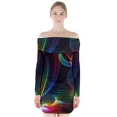 Abstract Rainbow Twirls Long Sleeve Off Shoulder Dress