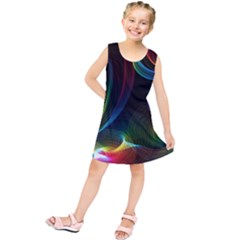 Abstract Rainbow Twirls Kids  Tunic Dress
