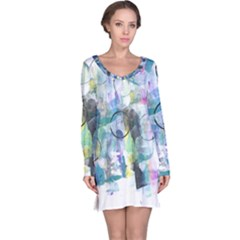 Background Color Circle Pattern Long Sleeve Nightdress