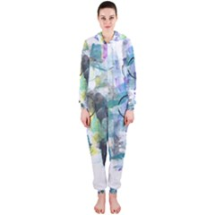 Background Color Circle Pattern Hooded Jumpsuit (Ladies)