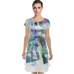 Background Color Circle Pattern Cap Sleeve Nightdress