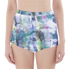 Background Color Circle Pattern High-Waisted Bikini Bottoms
