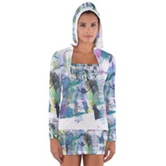 Background Color Circle Pattern Women s Long Sleeve Hooded T Shirt