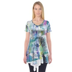 Background Color Circle Pattern Short Sleeve Tunic
