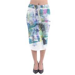 Background Color Circle Pattern Midi Pencil Skirt