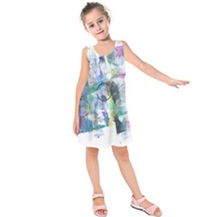 Background Color Circle Pattern Kids  Sleeveless Dress