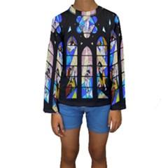 Art Church Window Kids  Long Sleeve Swimwear