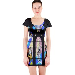 Art Church Window Short Sleeve Bodycon Dress