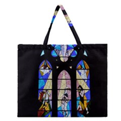 Art Church Window Zipper Large Tote Bag