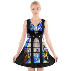 Art Church Window V-Neck Sleeveless Skater Dress
