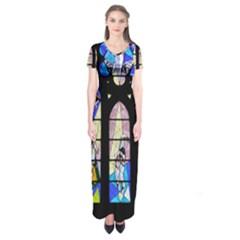 Art Church Window Short Sleeve Maxi Dress