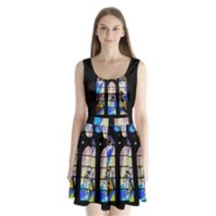 Art Church Window Split Back Mini Dress