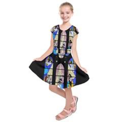 Art Church Window Kids  Short Sleeve Dress