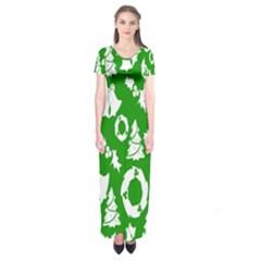Backdrop Background Card Christmas Short Sleeve Maxi Dress