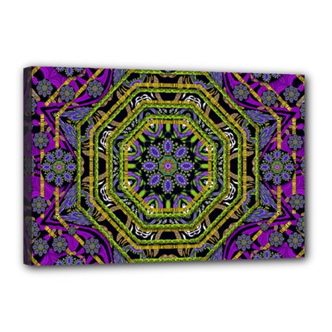 Wonderful Peace Flower Mandala Canvas 18  x 12