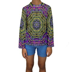 Wonderful Peace Flower Mandala Kids  Long Sleeve Swimwear