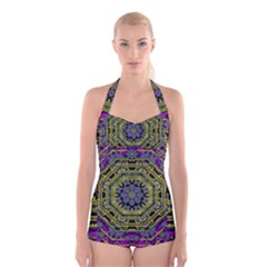 Wonderful Peace Flower Mandala Boyleg Halter Swimsuit